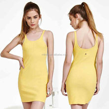 New Model Girl Dress Latest Net Dress Wholesale Custom Made in China Designs Ribbed Tank Dress