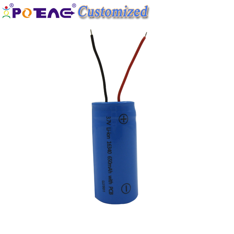Small light torch battery 16340 3.7v 650mah 4.81wh lithium ion battery for earphone speaker