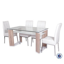 glass top wood frame double layer dining table