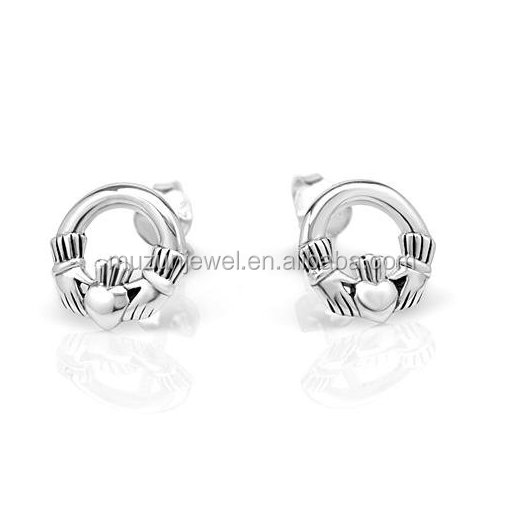 Tiny Celtic Claddagh Post Earrings 925 Sterling Silver Stud Earrings
