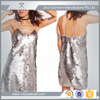 Australia design custom sequin harness dress silver