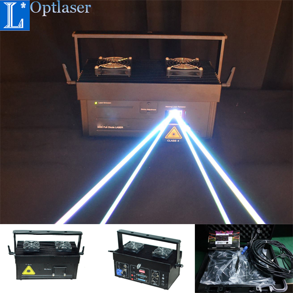 Professional lasershow system 3W RGB ILD controllable animation laser projector on sale.