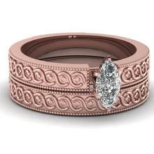 restore design oval cut diamond 2PC/set engagement ring jewelry in rose gold plating
