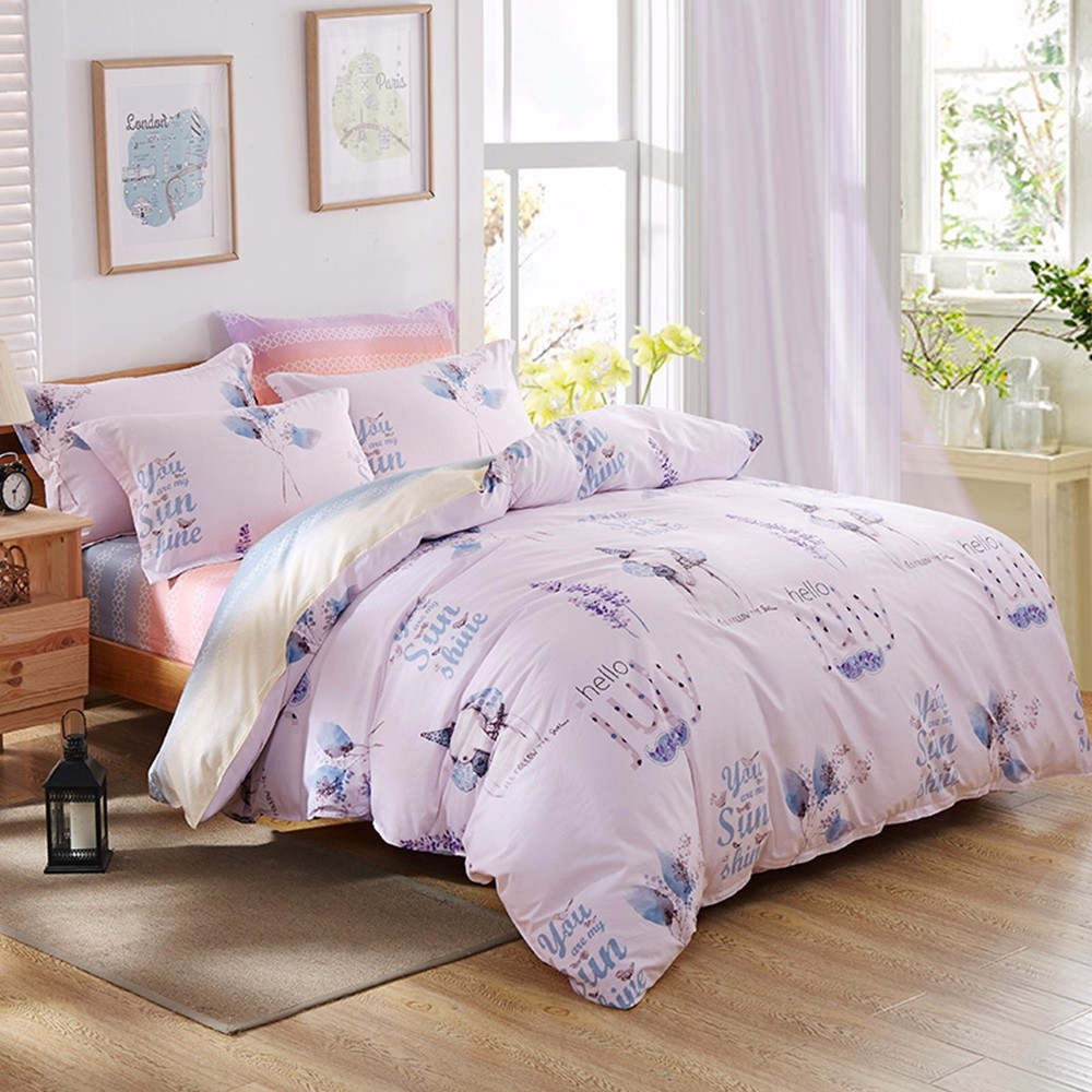 High Quality Hello July Theme Bed Set Pink Quilt Bedsheet With Flower And Elephant Pattern