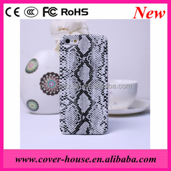 Shenzhen Snake skin PU leather transparent PC case for Apple iPhone 4G/4S