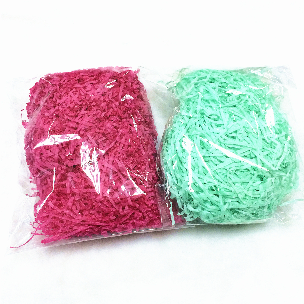 Nice cheap green crinkle shredded tissue paper for gift baskets