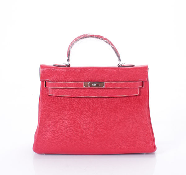 high quality red cowhide leather handbag with white stitching women top handle tote bag C2-142 fast shipping dropship