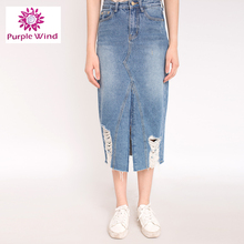 Factory directly ladies long wholesale denim jean skirts