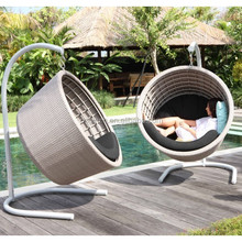 2016 latest bowl shaped modern balcony hanging chair wicker furniture outdoor round swing