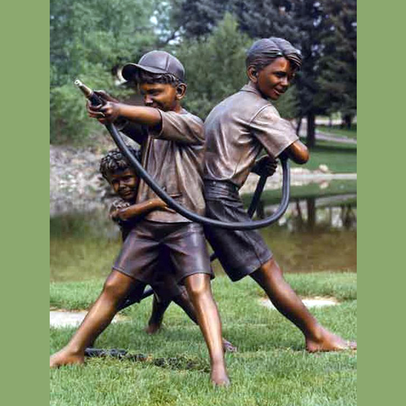 Classic Childhood Kids Garden Sculpture Bronze Children Boy and Girl Playing Statue