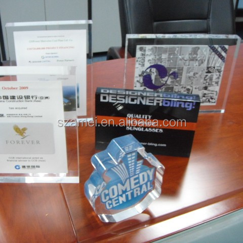 Custom Countertop Crystal Paper Inside Clear Brand Acrylic Plaque With Base