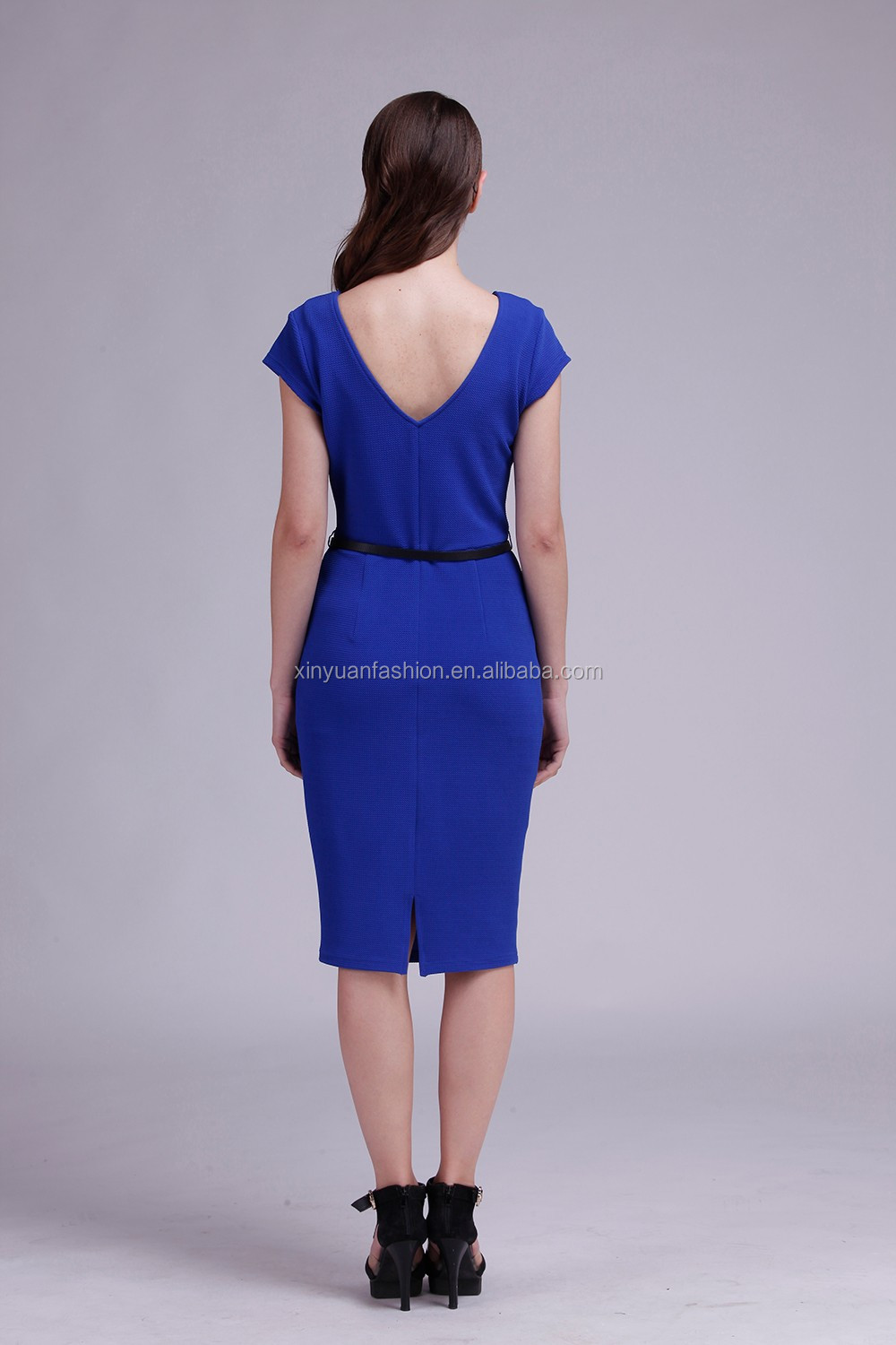 Woman dress royal sky dresses elegant knee length woman clothes