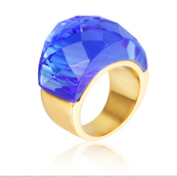 Wonderful jewelry stainless steel gold plated rings engagement wedding fake blue moonstone rings for fashion girls