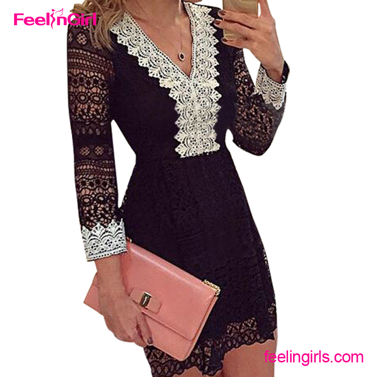 Black V Neck Lace 2016 Bandage Elegant One Piece Girls Party Dresses