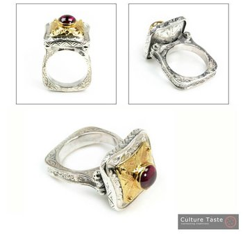 Byzantine Square Ring ~ Sterling Silver, Gold Plated Silver & Tourmaline