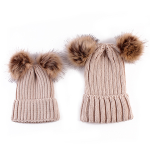 MY Miyar 2PCS/set Mom Mother+Baby Knit Pom Bobble Hat Kids Girls Boys Winter Warm Beanie Hats Crochet Knit Beanie Cap