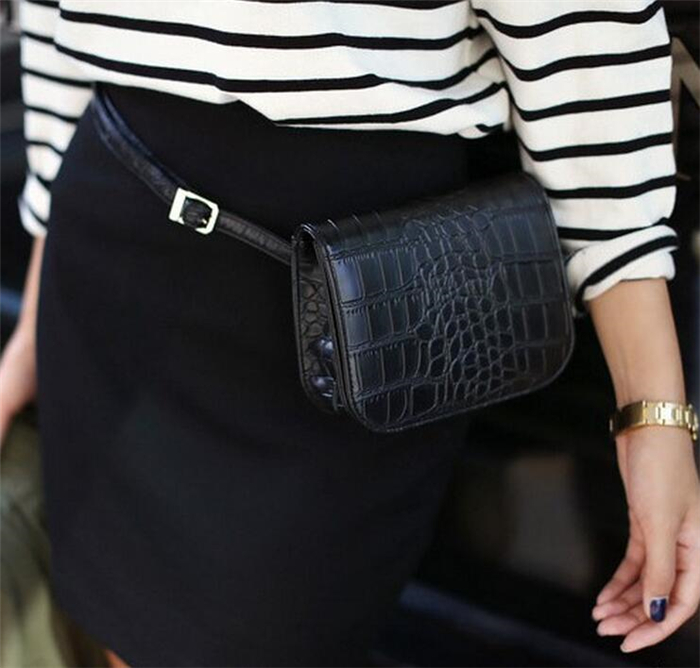 Lastest fashion croco leather mini waist belt bag