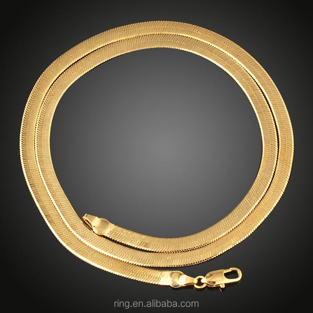 Latest 18K Gold Women Men Soft Flat Snake Chain Necklace