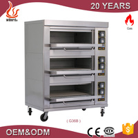 New Product Commercial 3 Deck 6 Tray Gas Pizza Ovens For Sale