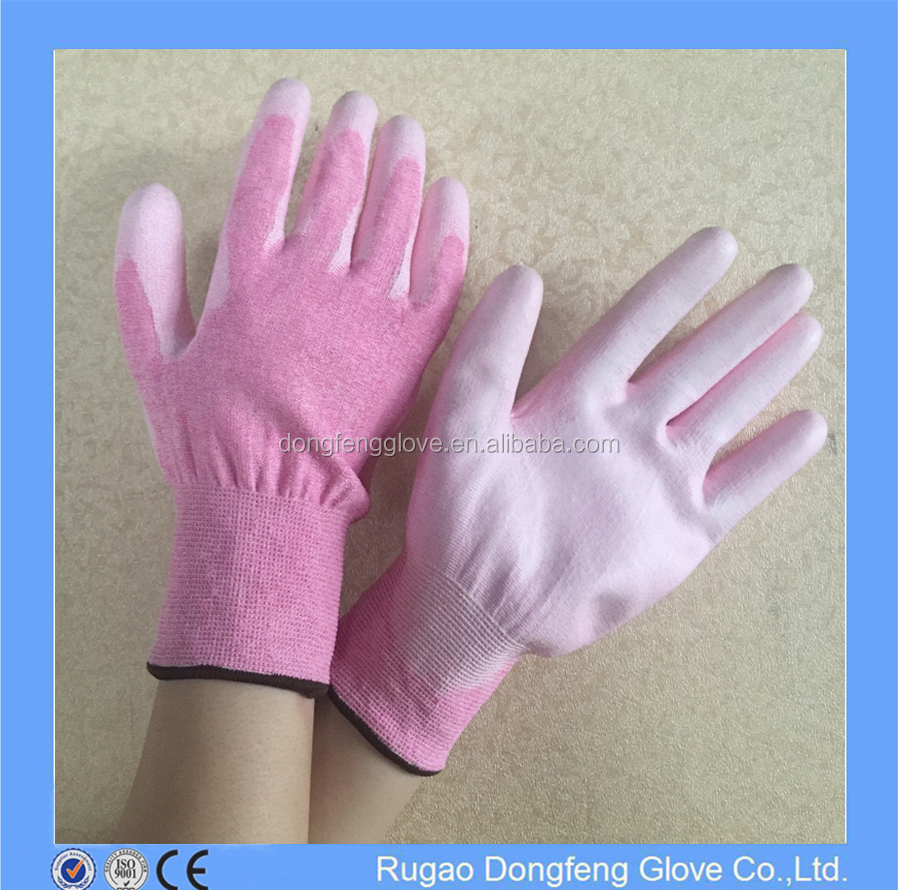 White PU Coated HPPE Knife Cut Resistant Gloves 13Gauge Anti Cut Gloves for Industry Work