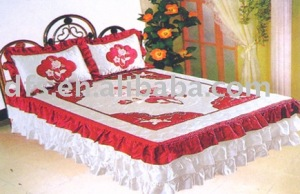 3pcs Satin Embroidery Bedspread Set