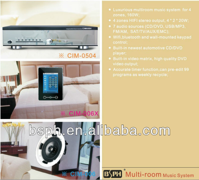 4 zones, 160W, WIFI and Bluetooth control, multiroom audio system CIM-0504