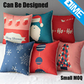 Season digital printed linen motivational decorative cushion cover for christmas