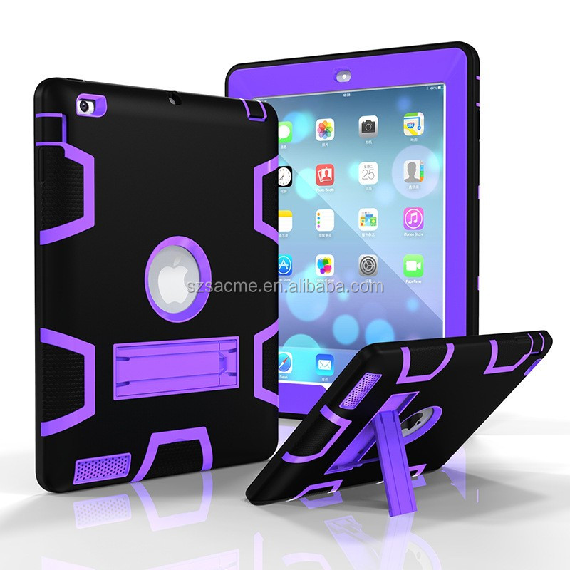 Hybrid Heavy Duty Rugged Kickstand Armor Heavy Duty Shockproof Case For Ipad mini 1 2 3