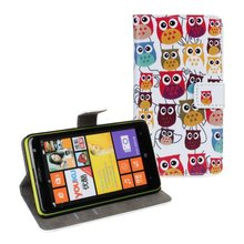 Owl printed custom wallet leather pouch case for nokia lumia 625