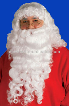 Santa Claus Christmas Adult White Deluxe Wig & Long Beard Set