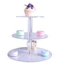 3 Tier Round Shape Rotatable Acrylic wedding Cake Display Stand