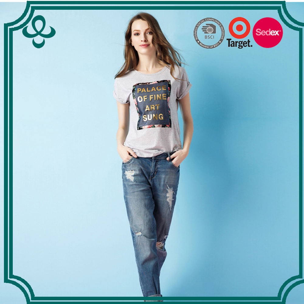 Hot Sale High Quality OEM Ladies Fashion Jersey Basic Plain Round Neck Womens Custom T-shirt Printing