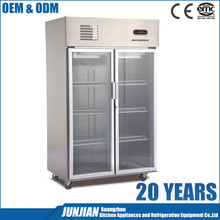 Welbas 2 doors commercial glass door freezer with remote compressor upright deep freezer