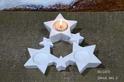 2016 newest Ceramic white star tea light porcelain candle holders wholesale