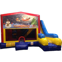 commercial grade 5 n 1 XL Christmas w/ Santa Sleigh inflatable bouncer/ bounce house/ jumping castle slide combo for party
