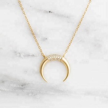 Miss Jewelry Fashion Jewelry Solid Gold Plated Crescent Moon Necklace