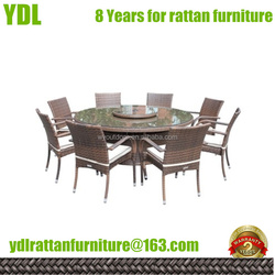 YDLoutdoor patio furniture sets round table KD model 10 seat rattan dining set chair and table
