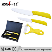 Rubberized handle ceramic knife and peeler set with EVA gift box
