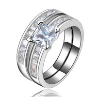 white gold jewellery wedding rings AAA CZ diamond ring Double Gold-plated