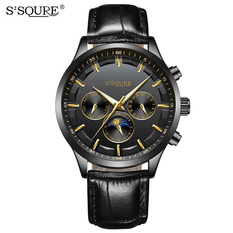 SSQURE S004 Alibaba Wholesale Quartz Watch Leather Week Date Hour Dial Golden Wristwatch Men Antioxidant Watch