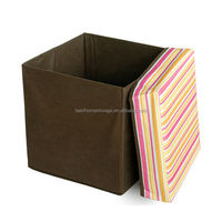 Storage Ottoman with Non-woven Fabric