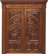 China Supplier Best Design Double Leaf Solid Wood Main Door Models