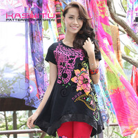 fashion cutting blouse new design casual t shirts for ladies 95 cotton 5 spandex