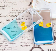 Flowing Liquid Swimming Yellow Duck Clear Cover Case for iPhone 6 6 Plus 5S 5 4s 4 Samsung Galaxy S6 /S6 Edge S5 S4 Note 5 4 3 2
