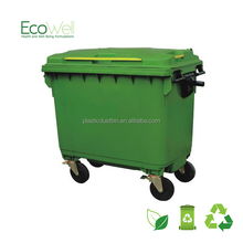 new design large plastic waste bin with wheels