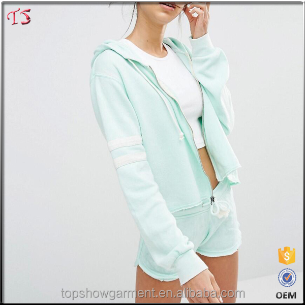 New arrival mint color women zip up cheap plain hoodies manufacturers
