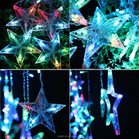 New Color Changing led icicle string lights big star shaped for christmas wedding holiday decoration