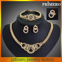 PRIMERO European and American jewelry four alloy sets Necklaces earrings bracelets rings sets antique jewelry sets