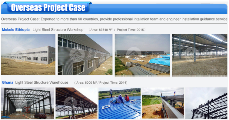 export Africa high quality and lowest price steel structure warehouse workshop factory founded in 1996