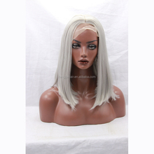 Layered Good Quality Synthetic Lace Front Short Grey Wig For Black Women Heat Resistant Cheap Straight Shoulder Length Grey Wigs